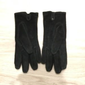 Womens Black 100% Suede Gloves Small Medium VTG